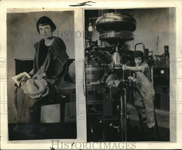 1923 Press Photo 22 Year Old Mechanical Engineer Clare Nicilit At Home & At Work - Historic Images