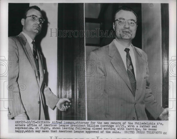 1954 Press Photo Alfred Luongo Attorney for Owners of Philadelphia Athletics - Historic Images