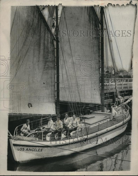 1929 Press Photo Steve Miranda, Dan Blum on yacht Los Angles - Historic Images