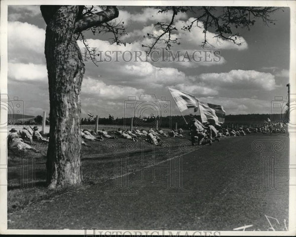 1937 Press Photo Reenacting the Battle of Antietam near Hagerstown, Maryland - Historic Images