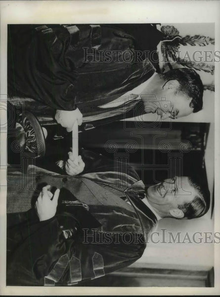 1936 Press Photo Political commentator Walter Lippman & Dr Alan Valentine - Historic Images