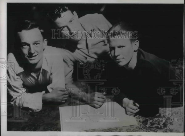 1934 Press Photo Four youths planning to swim the Mississippi from Minn. to La - Historic Images