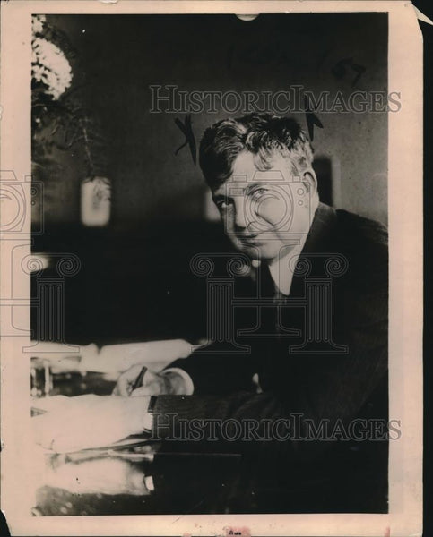 1919 Press Photo Millionare Frederick Ayres at the desk of his office, Indiana - Historic Images