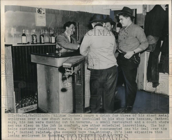 1948 Press Photo Milton Sachsel Pours a Drink For Sheet Metal Employees at Work - Historic Images