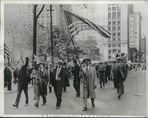 1933 Press Photo Tool And Die Makers On Strike March In Detroit Parade - Historic Images