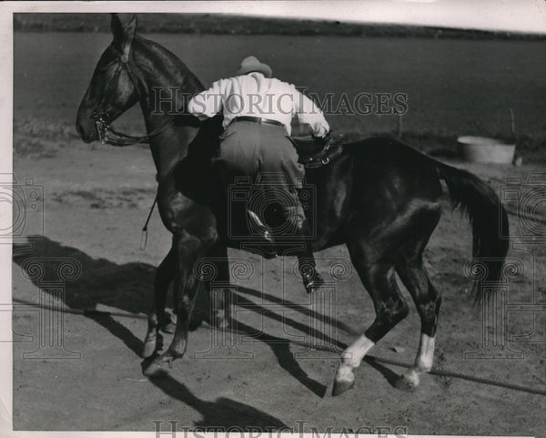 1936 Press Photo Gov. Alf M. Landon of Kansas takes a ride on his horse, Sye. - Historic Images