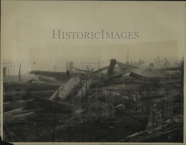 1922 Press Photo Smoldering Remains in Path of Oregon Forest Fire - Historic Images