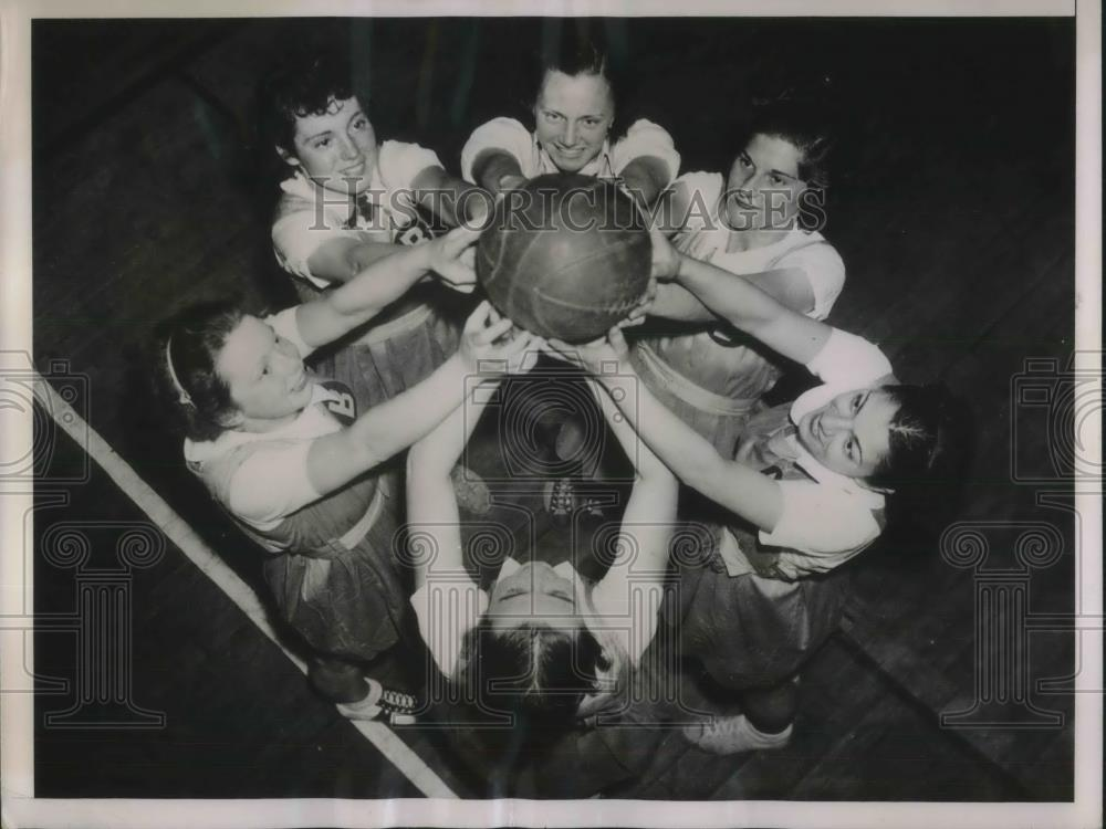 1936 Press Photo Beaver College Girls Basketball, Yeffers, Miller, Berger, Orr - Historic Images