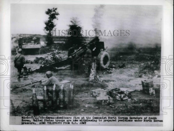 1950 Press Photo US troops & howitzers in action in Korea - Historic Images