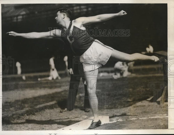 1932 Press Photo shot putter Fred DeBerry of U of California at IC4- Meet - Historic Images