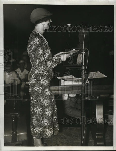 1933 Press Photo Ms. Margaret Wiseman testify at Cotton Textile Confererence - Historic Images