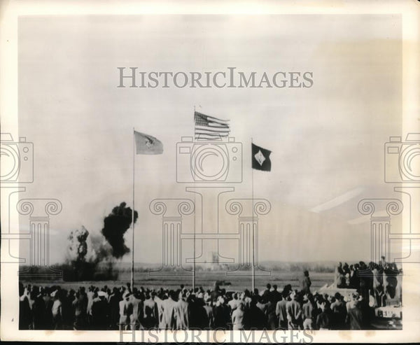 1957 Press Photo Groundbreaking for high energy fuel plant, Muskogee, Oklahoma - Historic Images
