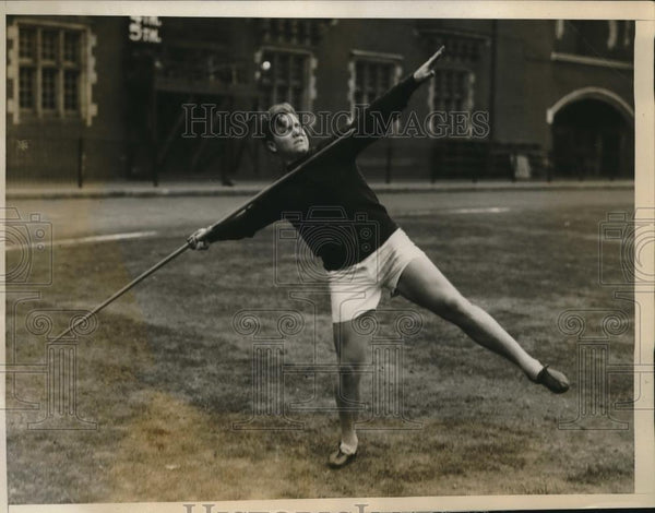 1927 Press Photo J McGloughin Univ of Pa javelin at track meet - nes18207 - Historic Images