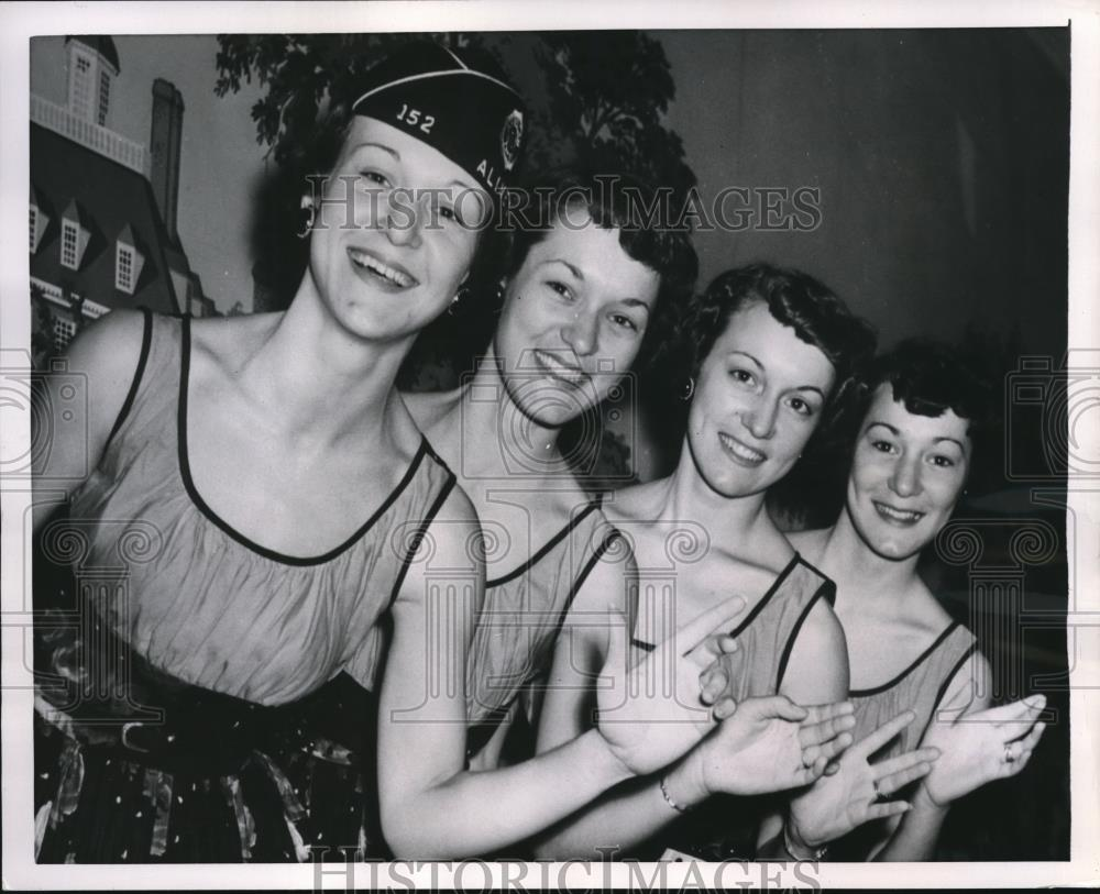 1954 Press Photo Bobbie, Kay, Colleen and Connie Ewing, Sing at Legion  Meeting