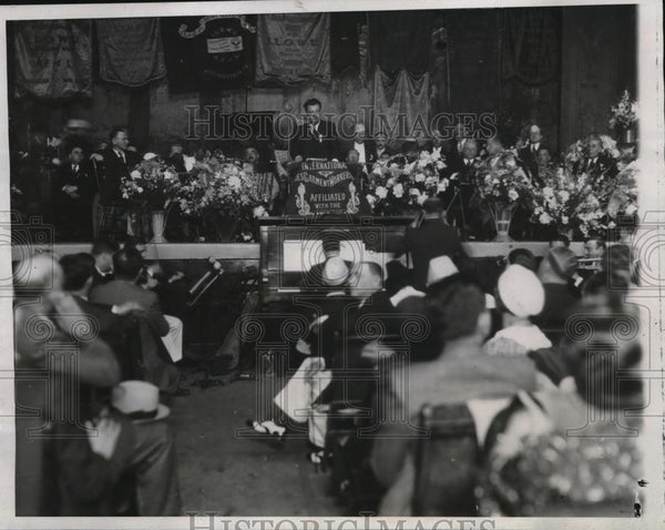 1934 Press Photo David Dubinsky opens the Biennial Convention in Chicago - Historic Images