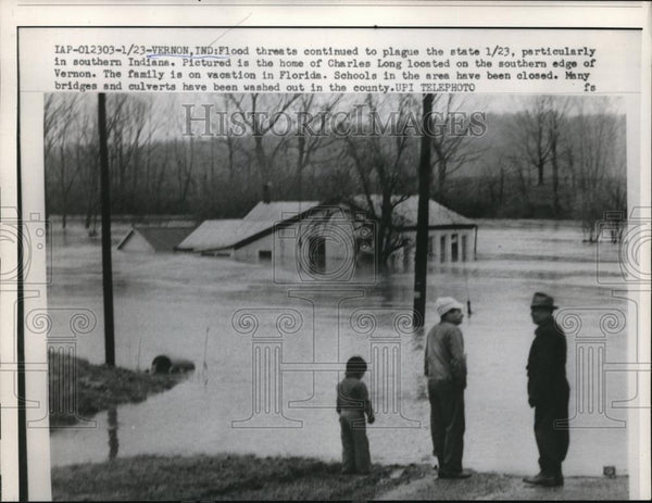 1959 Press Photo Indiana floods continue to plague threat - Historic Images