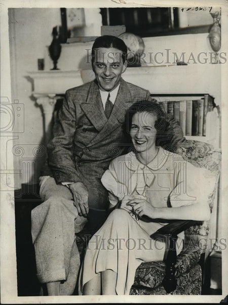 1933 Press Photo Alexander P Gray Jr actor & wife Peggy Jane McCray heiress - Historic Images