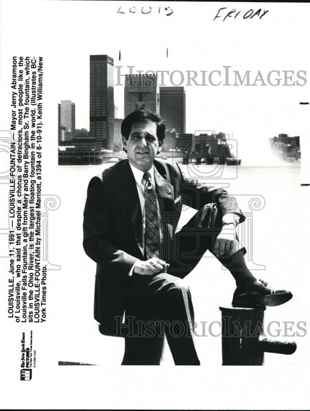 1991 Press Photo Mayor Jerry Abramson Louisville Falls Floating Fountain - Historic Images
