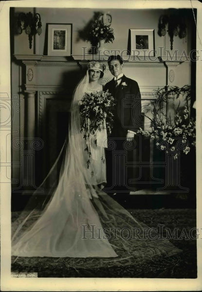 1922 Press Photo Chauncey Lockhart Waddell & bride Catherine Hughes - Historic Images