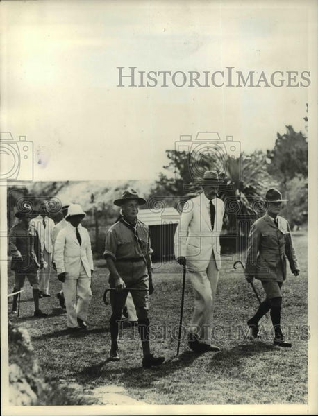 1933 Press Photo Sir Astley Cubitt of Bermuda Inspects Boy Scout Camp - Historic Images