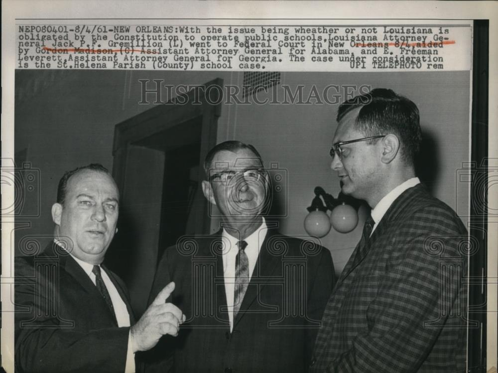 1961 Press Photo New Orleans Louisiana Attorney General Jack Gremillionwent  to