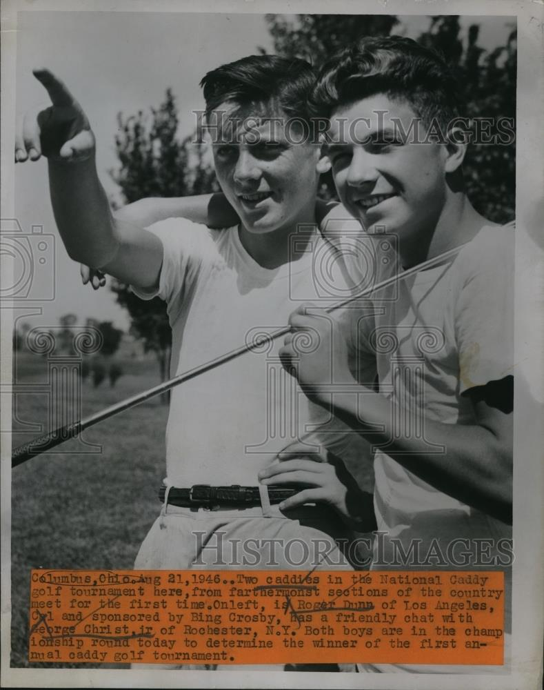 1946 Press Photo Two Caddies in National Caddy Golf Tournament in Ohio