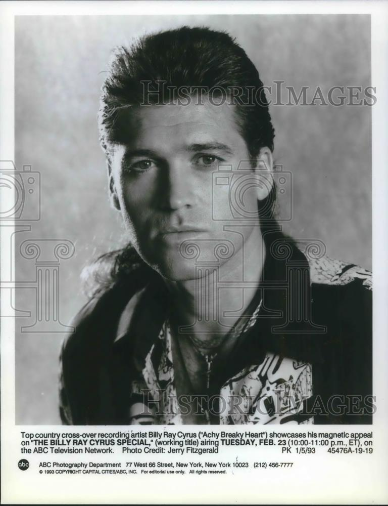 1993 Press Photo Billy Ray Cyrus in The Billy Cyrus Special - cvp01684 - Historic Images