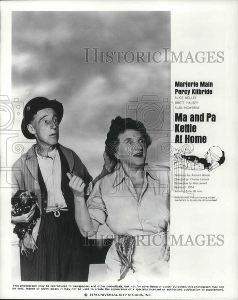 1987 Press Photo Marjorie Mann and Percy Kilbride in Ma & Pa Kettle at Home - Historic Images