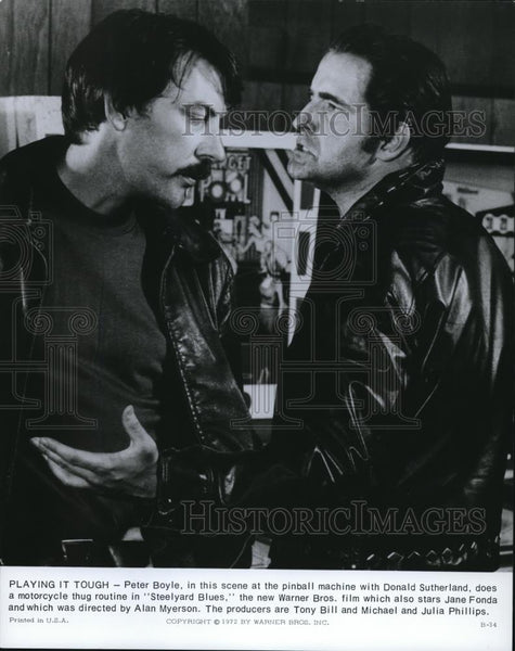 1973 Press Photo Peter Boyle and Donald Sutherland in Steelyard Blues - Historic Images