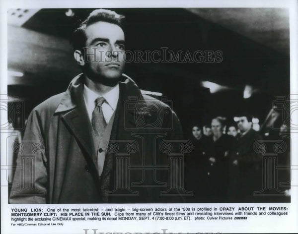1989 Press Photo Montgomery Clift in A Place in the Sun Cinemax Movie Special - Historic Images