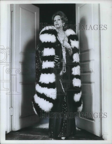 1974 Press Photo Arlene Dahl in Pal Joey wearing black and white maribou - Historic Images