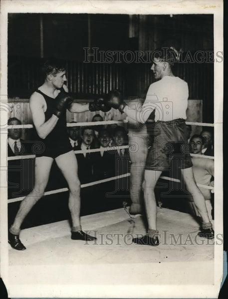 1929 Press Photo Lord Knebworth Boxing with P.C. Bone - nes21751 - Historic Images
