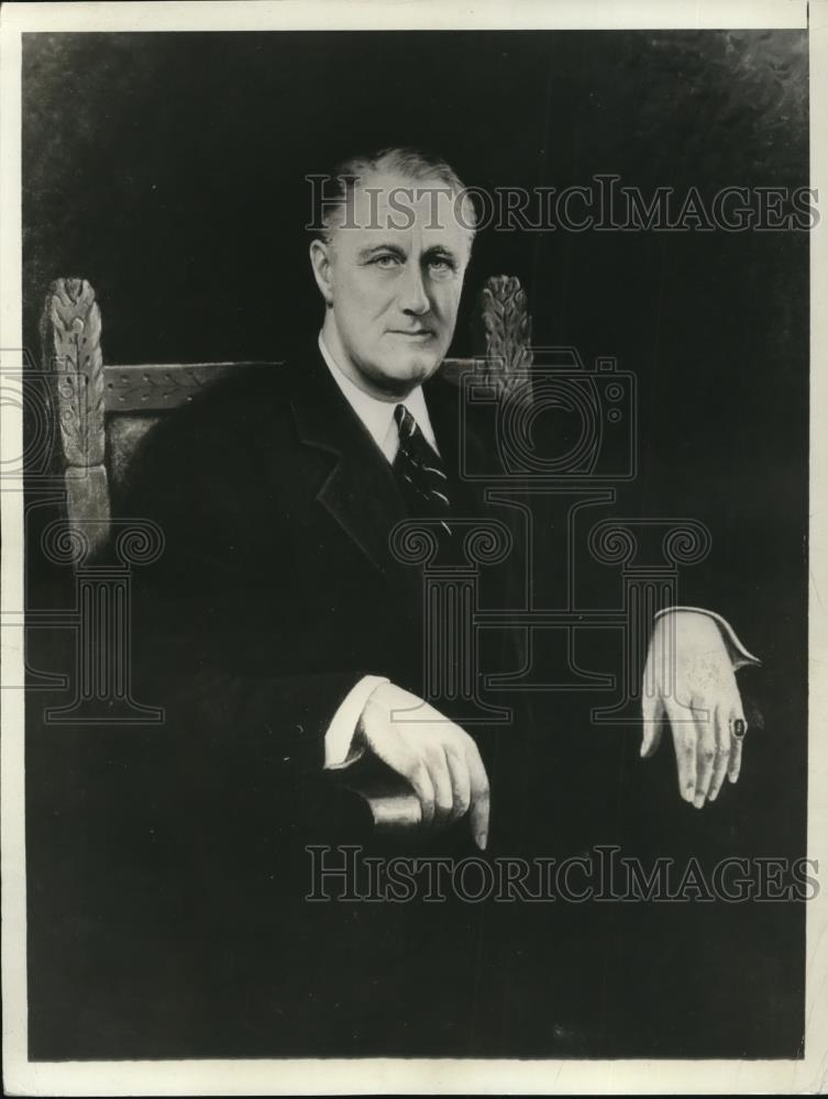 1932 Press Photo Portrait of Franklin Delano Roosevelt by Lorenzo Deneveres - Historic Images