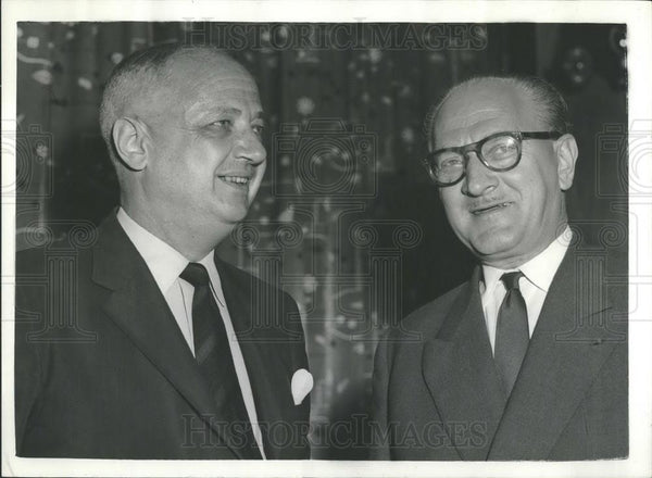 1956 Press Photo French Prime Minister M. Mollet and Foreign Secretary M. Pineau - Historic Images