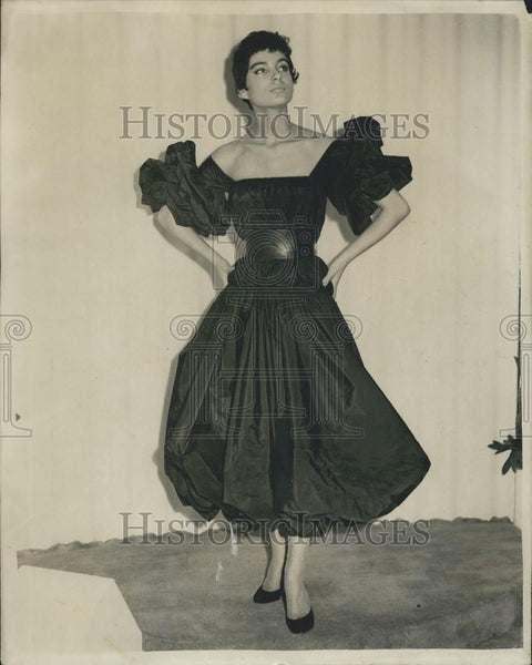Press Photo Double Twist Charcoal Colored Taffeta Cocktail Dress By Rhavis - Historic Images