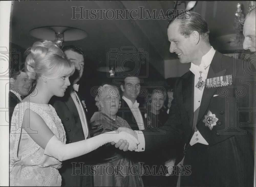 1964 Press Photo Prince Phillip Shakes Hands With Swedish Actress Britt Eklund - Historic Images