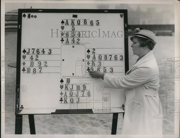 1936 Press Photo Magnetic Bridge Board designed by Frances Flinton - Historic Images