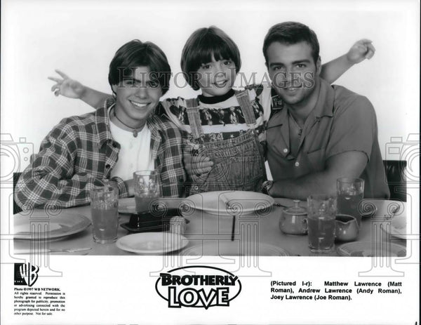 Press Photo Matt Roman, Andy Roman and Joe Roman in BROTHERLY LOVE - cvp24963 - Historic Images