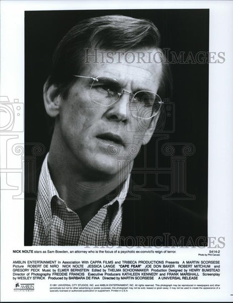 1992 Press Photo Nick Nolte in Cape Fear - cvp27905 - Historic Images