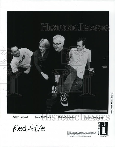 1996 Press Photo Adam Zuckert, Jennif McElrath, Betty Carmellini of Red Five - Historic Images