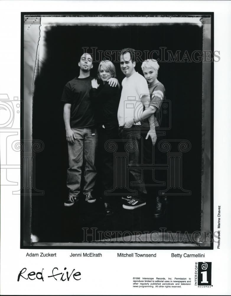 1996 Press Photo Adam Zuckert, Jenni McElrath, Mitchell Townsend of Red Five - Historic Images