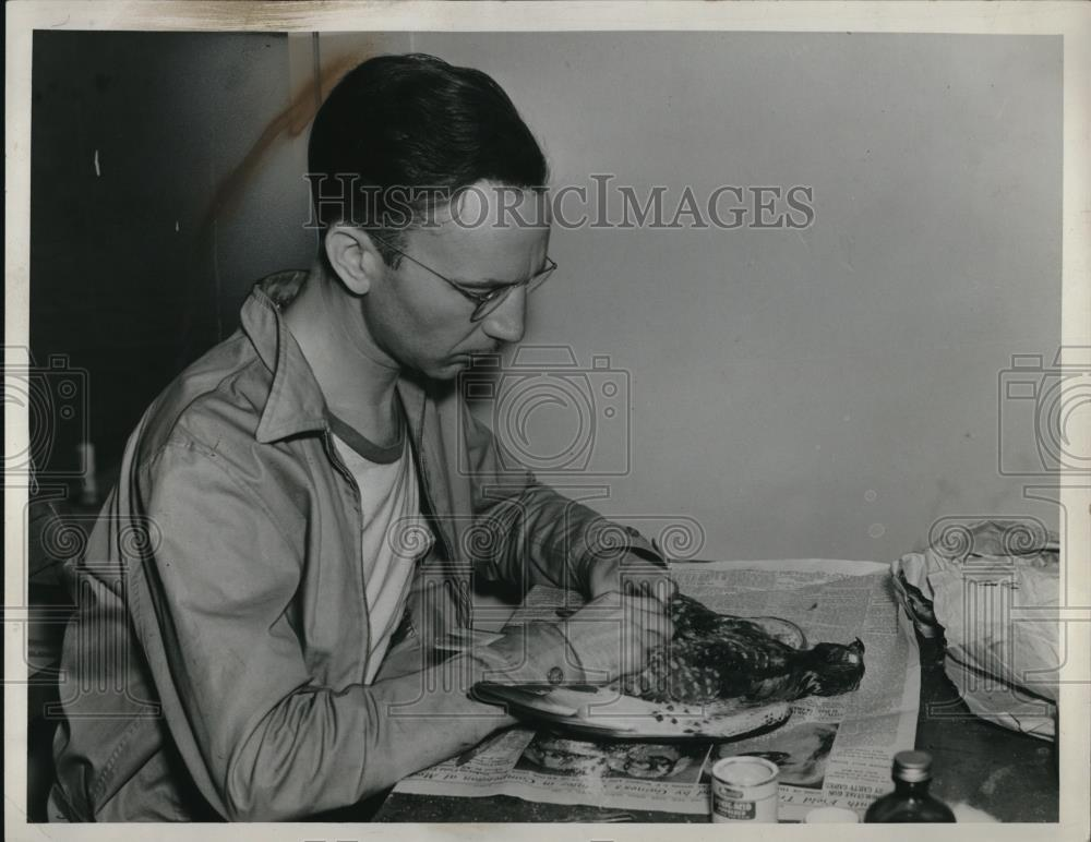 1919 Press Photo Charles Walker Working On Bird - Historic Images