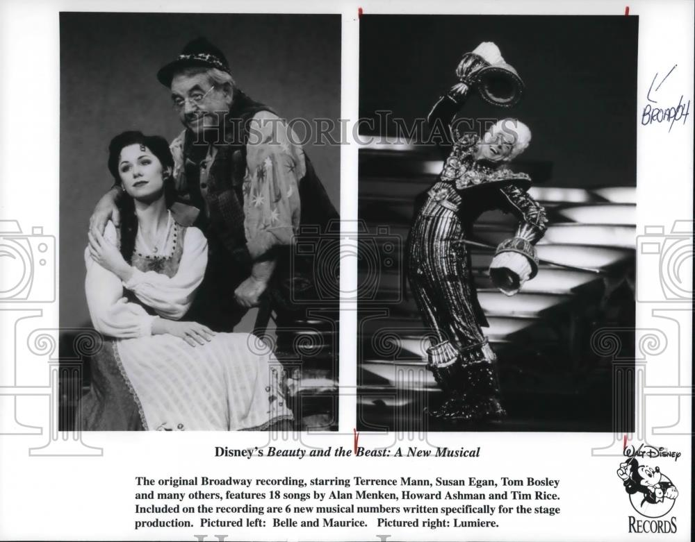 Terence Mann Writer >> 1996 Press Photo Terence Mann Susan Egan And Tom Bosley In Beauty And The Beast