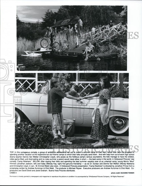 1995 Press Photo Christopher Lloyd, Jonathan Jackson, Melody Kay in Camp Nowhere - Historic Images