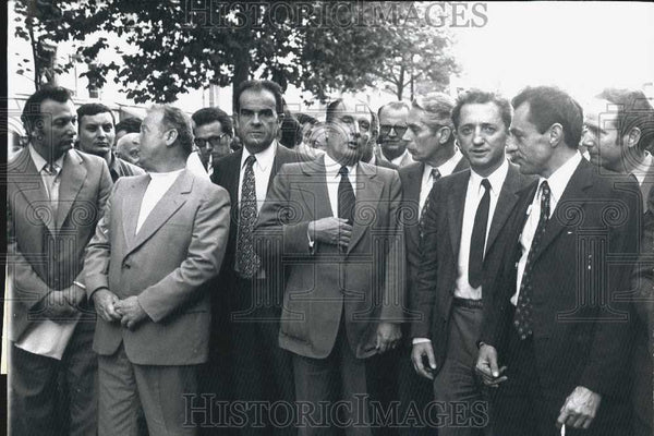 Press Photo Marchais, Seguy, Laurent, Mitterrand, Fabre, Maire, Rocard of France - Historic Images