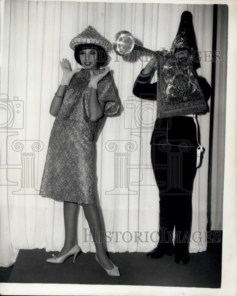 Press Photo Coleen Judah Wears A Dress And Jacket Historic Images