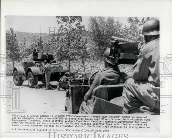 1958 Press Photo Battle Rebels, Lebanon - Historic Images