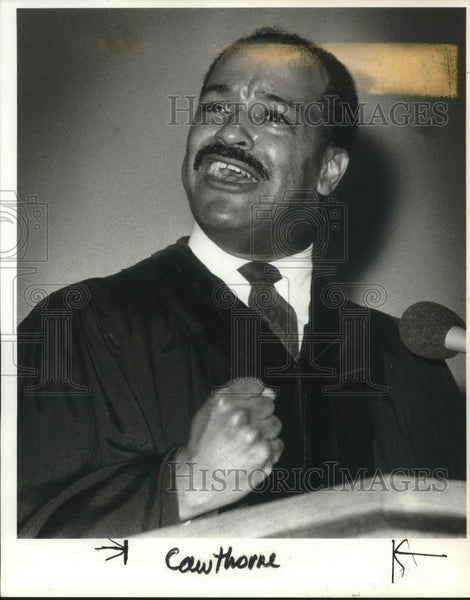 1986 Press Photo Herb Cawthorne celebrating Martin Luther King's Birthday - Historic Images