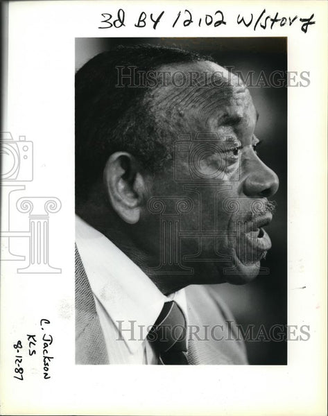 1987 Press Photo Rev John Jackson at his farewell news conference - ora38924 - Historic Images