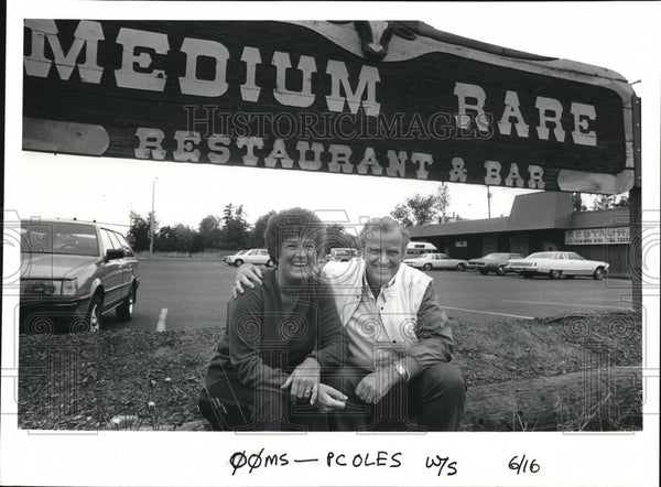 1986 Press Photo Medium Rare Restaurant & Bar Owners Jackie and Ole Canamore - Historic Images